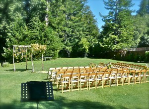 Our string quartet performed this very elegant wedding in the hills of Woodside today.